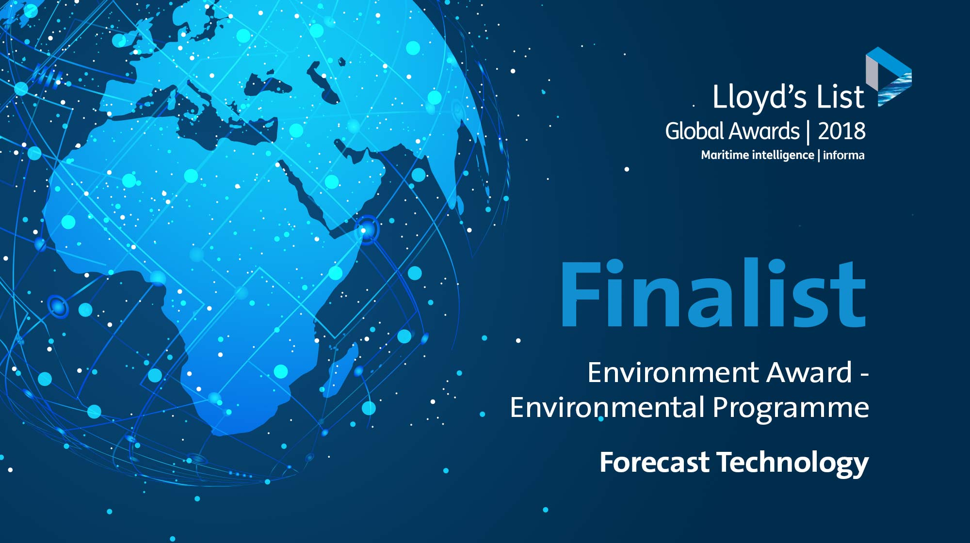 A colour image of the global in blue hues used for the LA colour image of the banner announcing the Lloyds Environment Award Finalist Forecast Technology